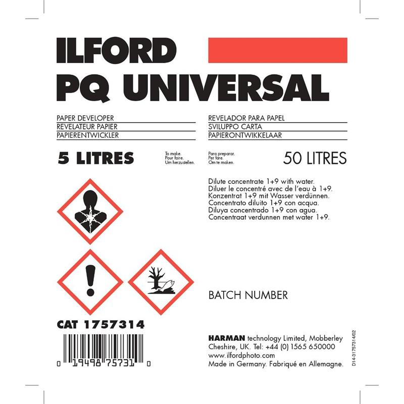 Ilford PQ Universal Developer 5Ltr WLD Thumbnail Image 0